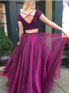 Two Piece V-Neck Short Sleeves Purple Tulle Prom Dress with Beading