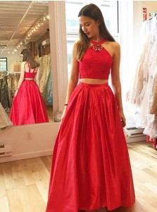 Two Piece V-Neck Floor-Lenght Red Satin Prom Dress with Lace Rhinestones