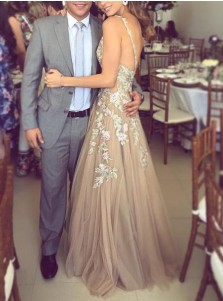 A-Line Deep V-Neck Champagne Tulle Prom Dress with Appliques