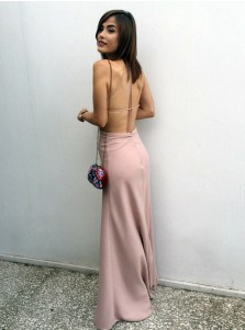 Sheath Spaghetti Straps Backless Blush Prom Dress