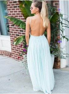 A-Line Spaghetti Straps Backless Mint Green Chiffon Prom Dress with Lace