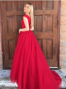 A-Line V-Neck Sweep Train Dark Red Tulle Beaded Appliques Prom Dress