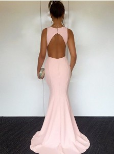 Mermaid Round Neck Sweep Train Pearl Pink Open Back Prom Dress