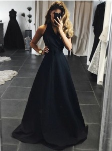 A-Line Halter Backless Sweep Train Black Satin Prom Dress