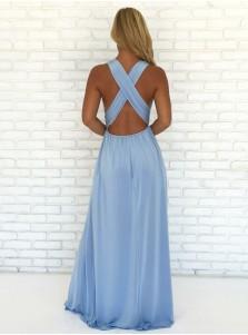 A-Line V-Neck Criss-Cross Straps Sky Blue Chiffon Prom Dress with Split