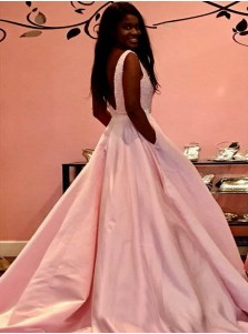 A-Line V-Neck Backless Pink Satin Beaded Prom Dress with Pockets