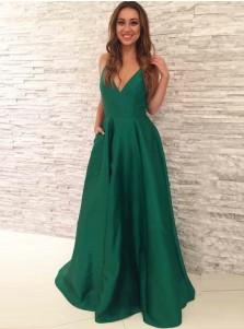 A-line V-Neck Floor-Length Pleated Hunter Satin Prom Dress with Pockets