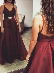 A-Line Spaghetti Straps Burgundy Satin Prom Dress with Beading