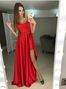 A-Line Scoop Sweep Train Red Satin Prom Dress with Split
