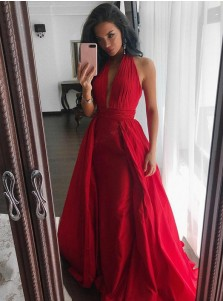 Sheath Halter Sleeveless Sweep Train Pleated Red Satin Prom Dress
