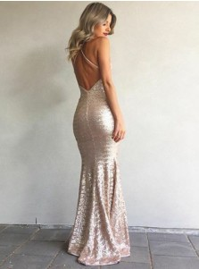 Mermaid Spaghetti Straps Champagne Sequined Prom Dress with Split