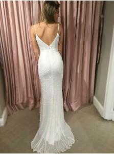 Sheath Spahgetti Straps Sweep Train White Sequined Prom Dress