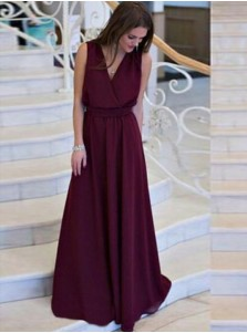 A-Line V-Neck Floor-Length Grape Chiffon Prom Dress with Sash
