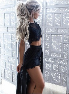Two Piece Round Neck Long Black Chiffon Prom Dress with Appliques