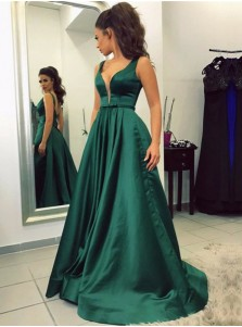 A-Line V-Neck Sweep Train Emerald Satin Prom Dress with Pockets