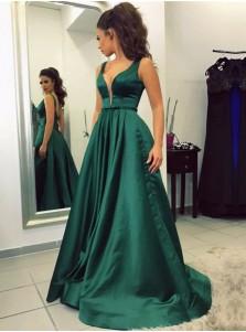 A-Line V-Neck Sweep Train Emerald Satin Prom Dress with Pockets