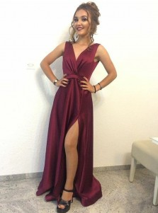 A-Line V-Neck Sweep Train Maroon Satin Prom Dress with Split