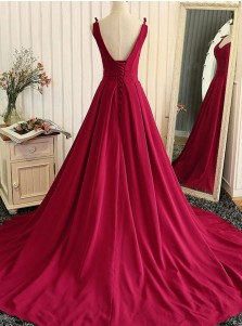 A-Line V-Neck Sweep Train Lace-up Elastic Satin Dark Red Prom Dress