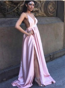 A-Line Deep V-Neck Backless Pink Satin Prom Dress with Split