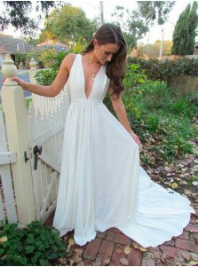 A-Line Deep V-Neck Sweep Train White Chiffon Prom Dress