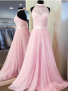 A-Line Halter Floor-Length Pink Tulle Prom Dress with Sash Lace