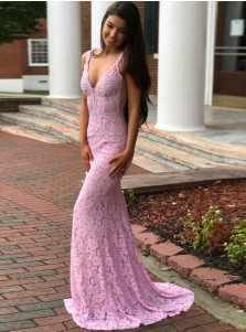 Mermaid Deep V-Neck Backless Lilac Lace Prom Dress with Beading