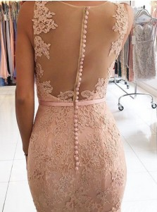 Mermaid V-Neck Sweep Train Pink Lace Prom Dress with Beading Appliques