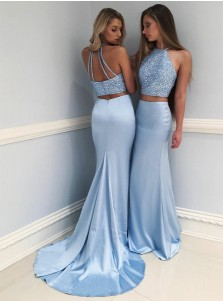 Two-Piece Mermaid Round Neck Blue Prom Dress with Beading