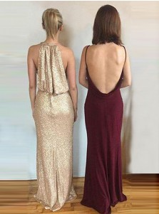 Sheath Bateau Backless Sweep Train Maroon Spandex Prom Dress