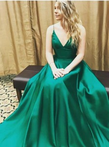 A Line V Neck Floor Length Hunter Green Satin Prom Dress With Pleats