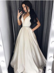 A-Line V-Neck Floor-Length Ivory Satin Beaded Prom Dress with Pockets