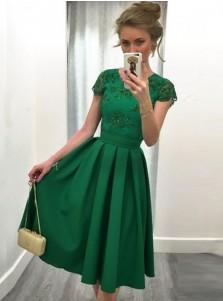 A-Line Round Neck Cap Sleeves Short Green Satin Appliques Prom Dress