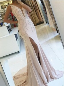 Sheath V-Neck Sweep Train Pearl Pink Backless Prom Dress with Beading