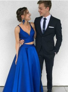 Two Piece Straps Floor-Length Royal Blue Satin Prom Dress