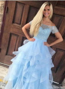 A-Line Off-the-Shoulder Light Blue Tiered Tulle Prom Dress with Beading