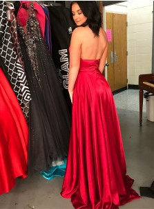 A-Line Cross Neck Floor-Length Dark Red Prom Dress with Split Keyhole