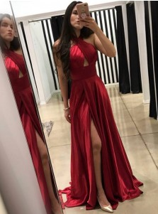 A-Line Cross Neck Floor-Length Dark Red Prom Dress with Split Keyhole