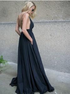 A-Line Spaghetti Straps Backless Black Taffeta Prom Dress with Pockets