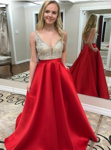A-Line V-Neck Backless Floor-Length Red Satin Beaded Prom Dress