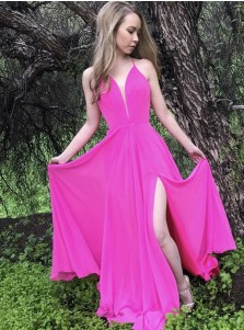 A-Line Spaghetti Straps Fuchsia Chiffon Prom Dress with Split
