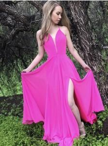 A-Line Spaghetti Straps Fuchsia Chiffon Prom Dress with Split