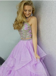 Two Piece Halter Floor-Length Tiered Organza Prom Dress with Appliques