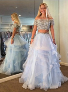 Two Piece Off Shoulder Tiered Blue Tulle Prom Dress with Sequins Beading