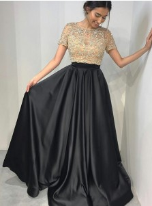 A-Line Round Neck Short Sleeves Black Satin Prom Dress with Beading