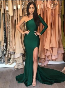Mermaid One Shoulder Split Hunter Green Prom Dress with Sleeves