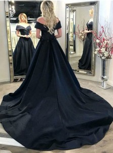 A-Line Off-the-Shoulder Court Train Black Satin Prom Dress