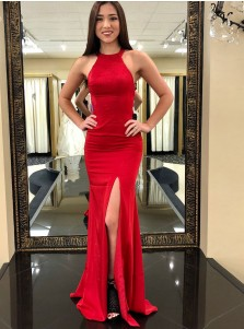 Sheath Round Neck Sweep Train Red Elastic Satin Prom Dress with Split