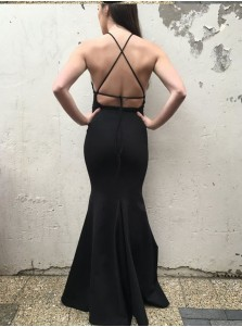 Mermaid Spaghetti Straps Floor-Length Backless Black Prom Dress