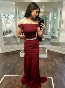 Sheath Off-the-Shoulder Dark Red Stretch Satin Prom Dress with Beading