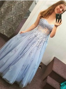 A-Line Sweetheart Light Blue Tulle Prom Dress with Appliques